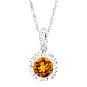 November Pendant with Yellow Swarovski Crystal
