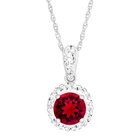 July Pendant with Red Swarovski Crystal