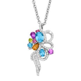 2 1/8 ct Multi-Stone & 1/4 ct Diamond Bouquet Pendant