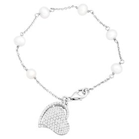 Potato Pearl & White Topaz Heart Bracelet