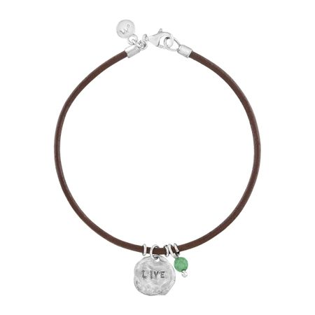 'Live' Leather Charm Bracelet with Aventurine