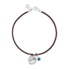 'Peace' Leather Charm Bracelet with Turquoise