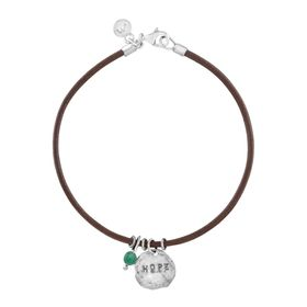 'Hope' Leather Charm Bracelet with Aventurine