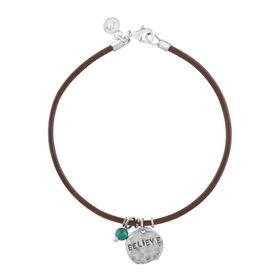 'Believe' Leather Charm Bracelet with Turquoise