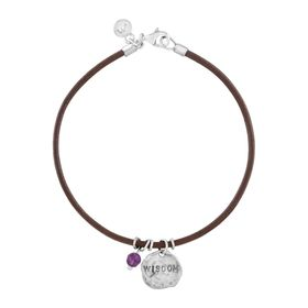 'Wisdom' Leather Charm Bracelet with Amethyst