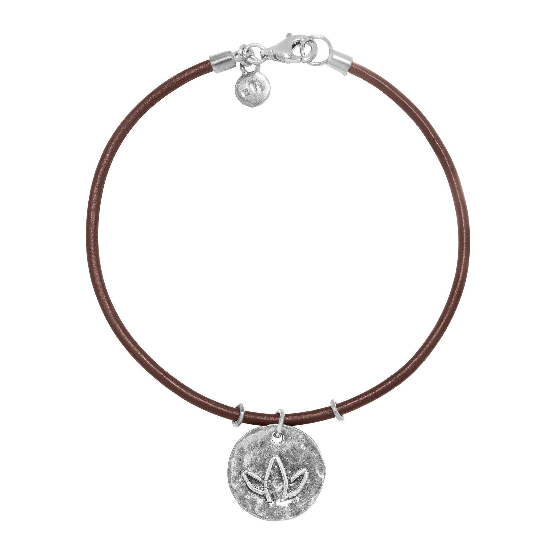 Hammered Lotus Flower Charm Bracelet In Sterling Silver And Leather