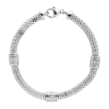 1/10 ct Diamond Station Mesh Cage Bracelet