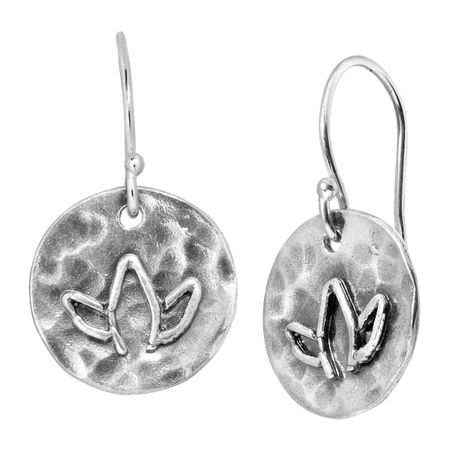 Hammered Lotus Flower Drop Earrings