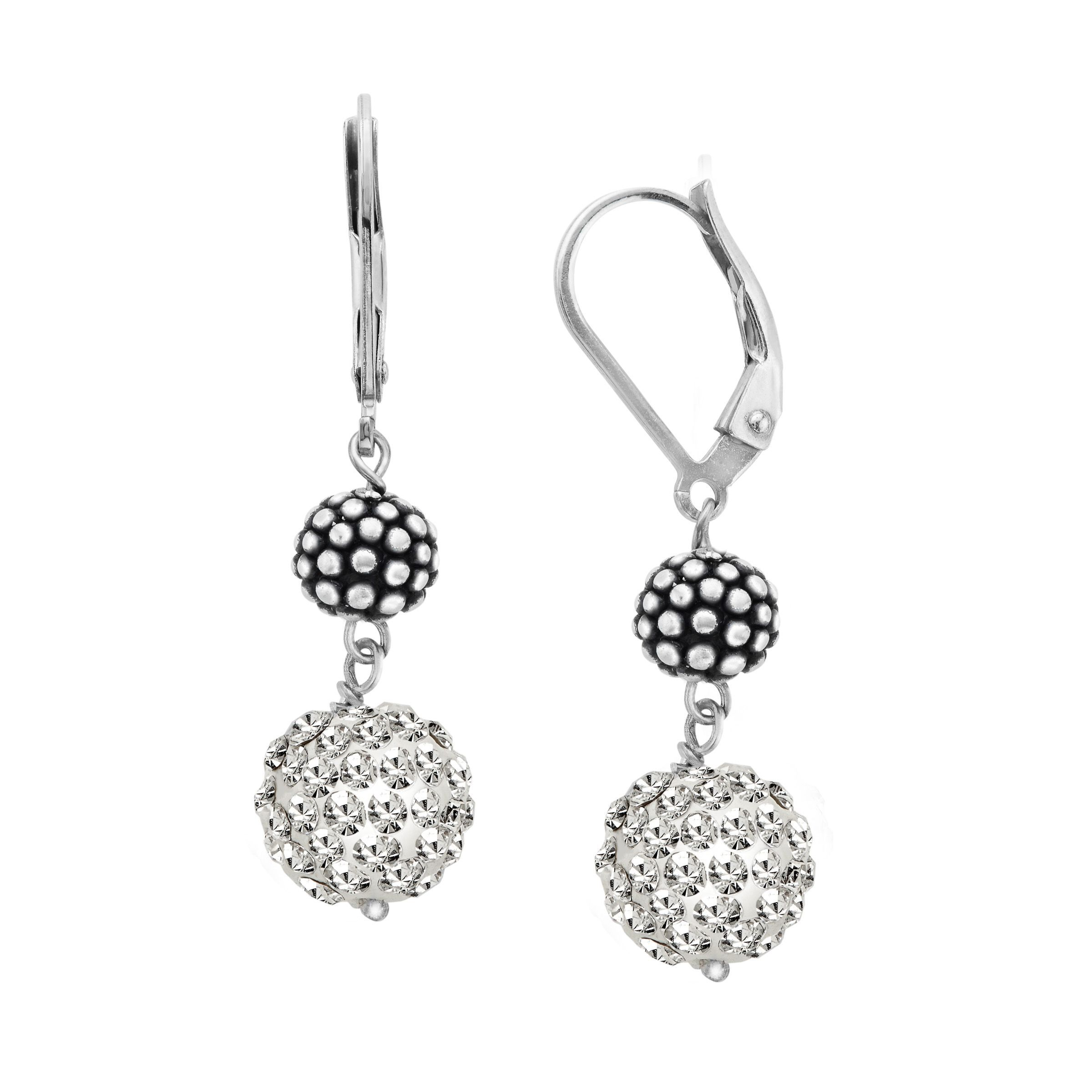 Ball Drop Earrings With Swarovski Crystals Pavé In Sterling Silver