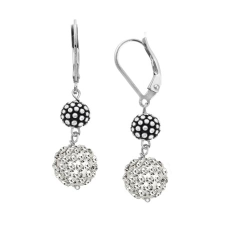 38a29b9eab390 Ball Drop Earrings with Swarovski Crystals Pavé in Sterling Silver