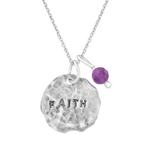 'Faith' Charm Pendant with Amethyst