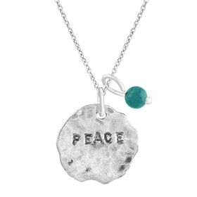 'Peace' Charm Pendant with Turquoise