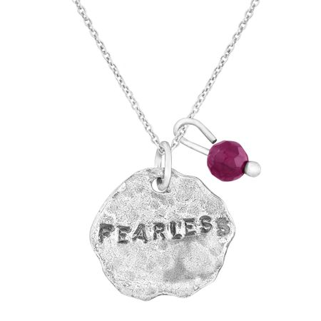 'Fearless' Charm Pendant with Garnet