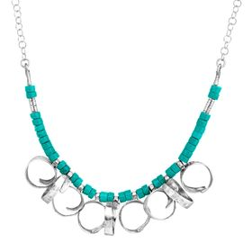 Turquoise Bead Curlicue Necklace