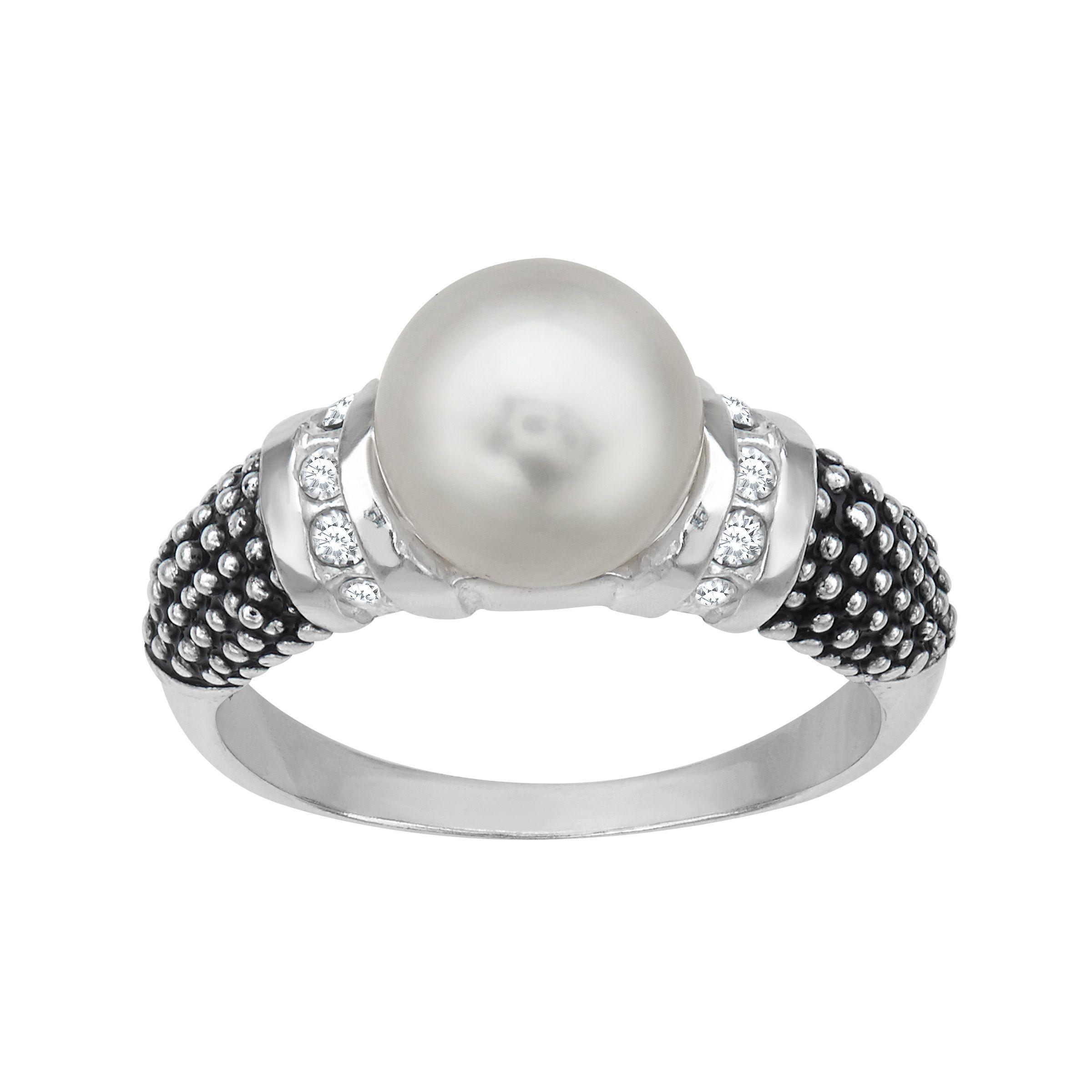 46b5a7c228f6 Aya Azrielant Ring with Swarovski Freshwater Pearl   Crystal in Sterling  Silver