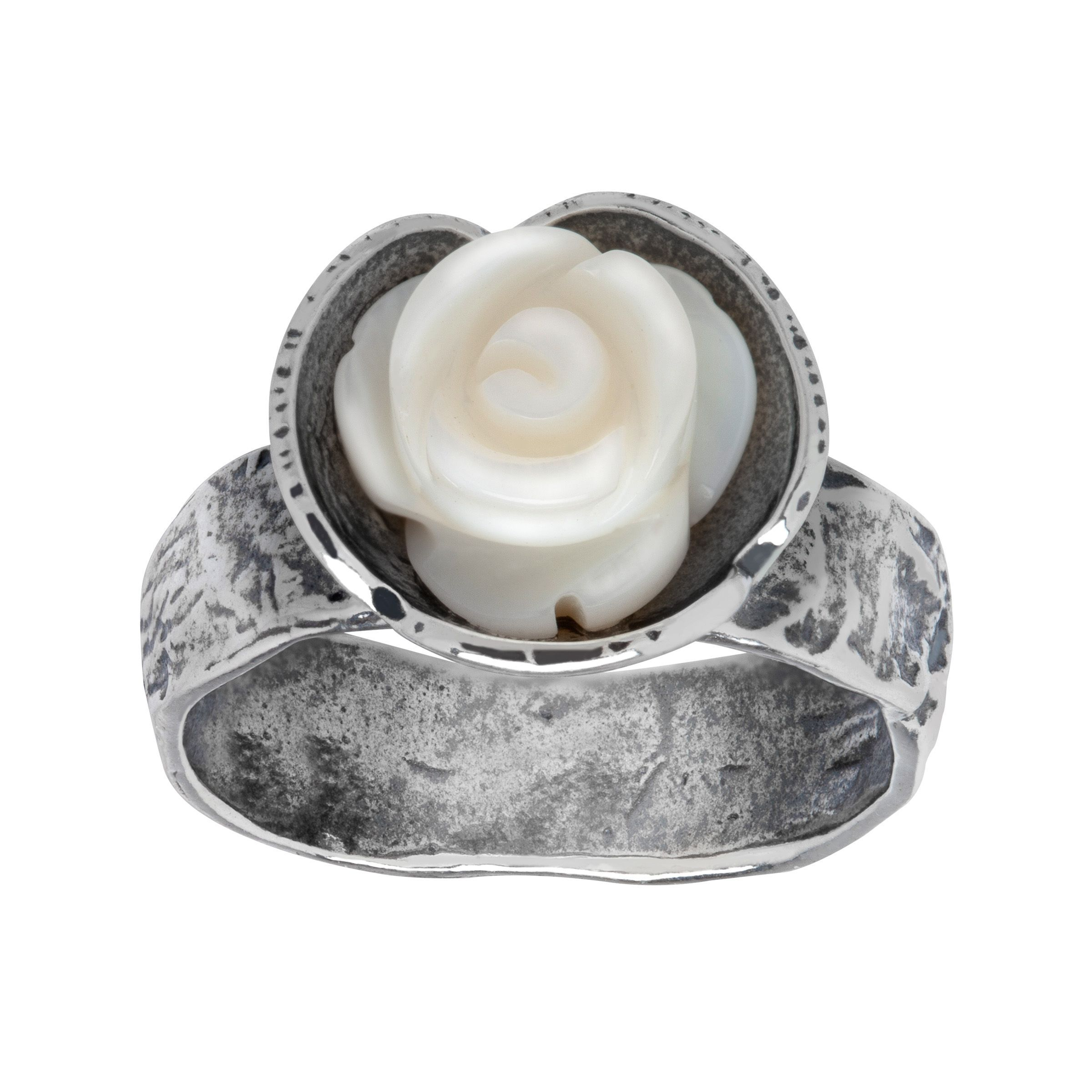 mother of pearl rose ring in sterling silver ebay. Black Bedroom Furniture Sets. Home Design Ideas