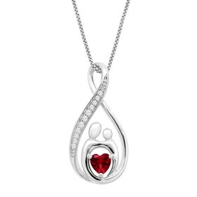 3/4 ct Ruby & White Sapphire Mother & Child Pendant