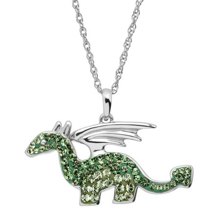 Dragon Pendant with Green Swarovski Crystals