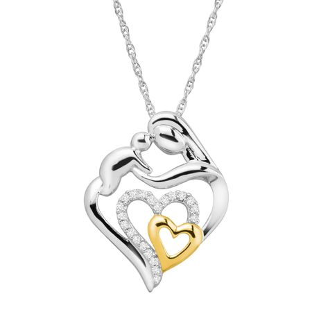 1/10 ct Diamond Two-Tone Mother & Child Pendant