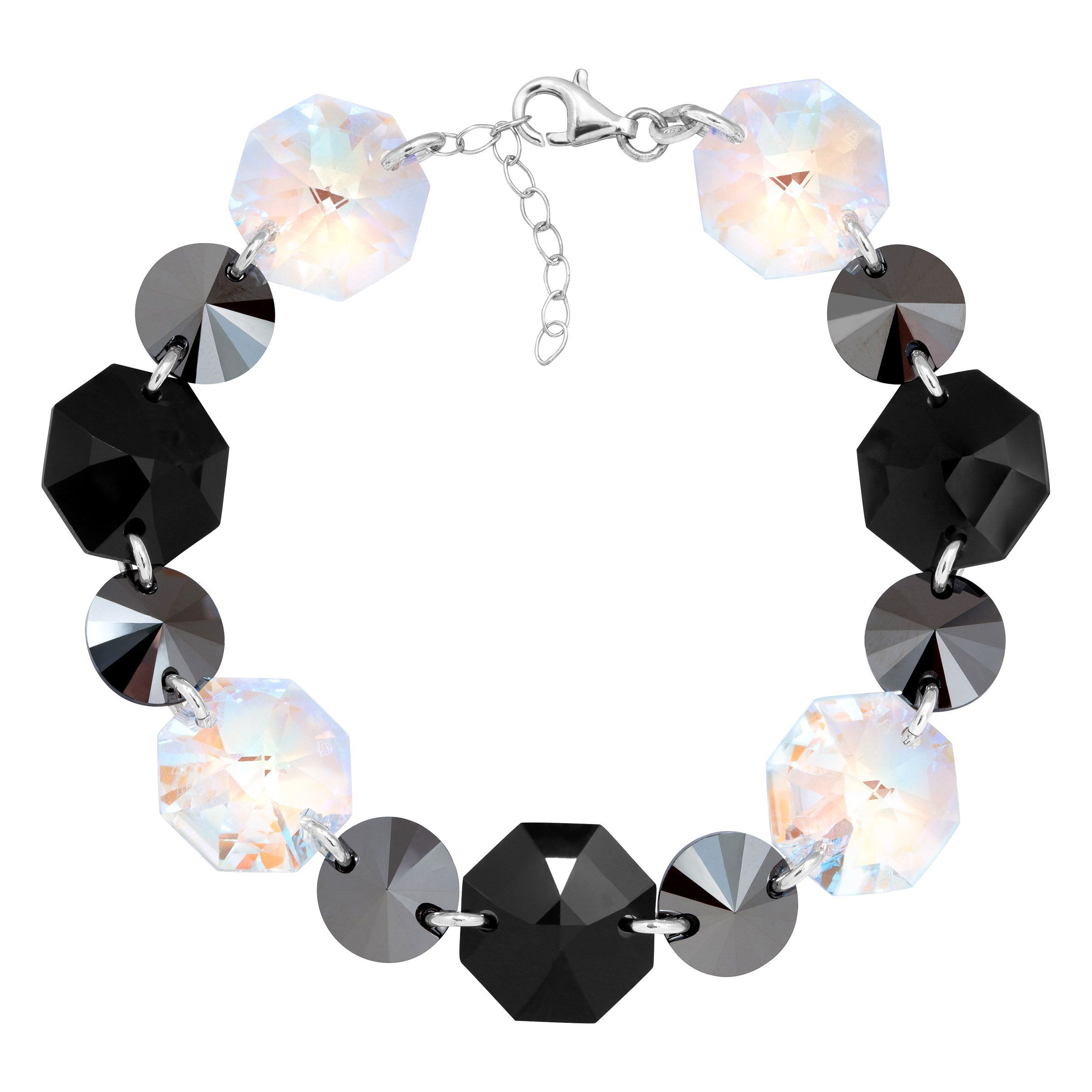 Crystaluxe Link Bracelet With Black White Swarovski Crystals In Sterling Silver
