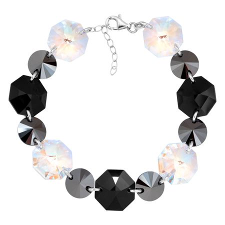 Link Bracelet with Black & White Swarovski Crystals