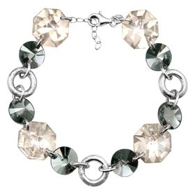 Link Bracelet with Smokey Swarovski Crystals