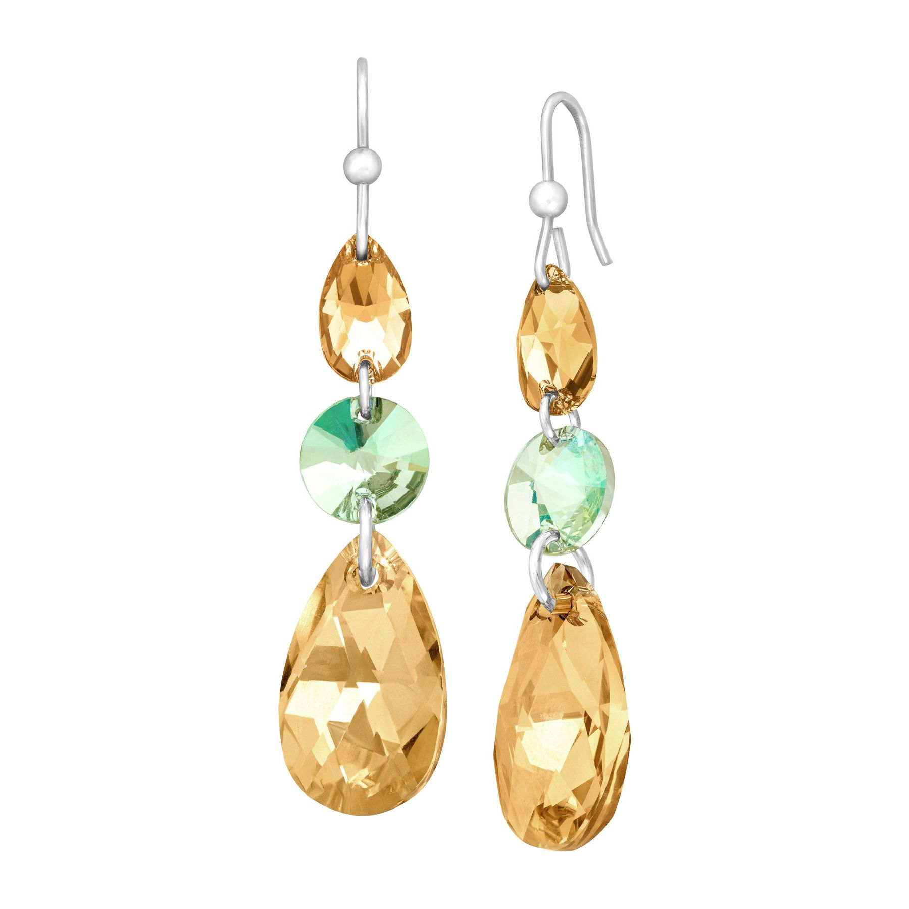 Triple Drop Earrings With Champagne Swarovski Crystals