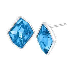 Stud Earrings with Sky Blue Swarovski Crystals