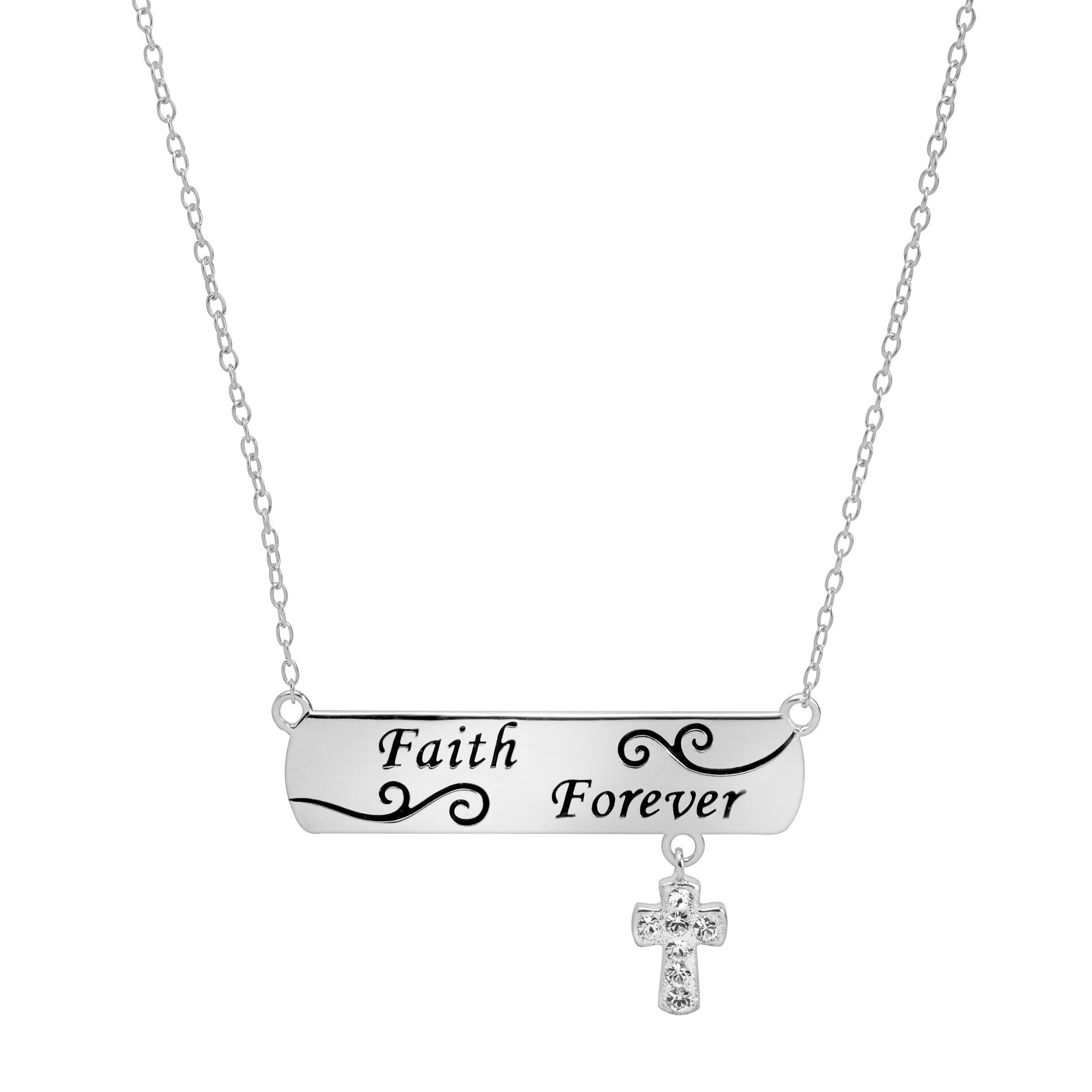 478e0432f Details about Crystaluxe Engraved Bar & Cross Necklace with Swarovski  Crystals Sterling Silver