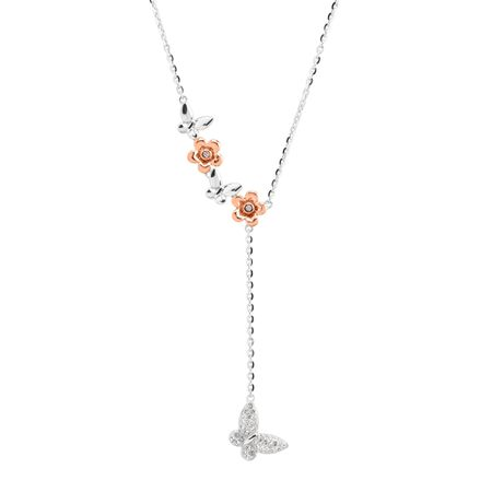e4e1dc2d014b5 Crystaluxe Two-Tone Butterfly Lariat Necklace with Swarovski Crystals in  Sterling Silver