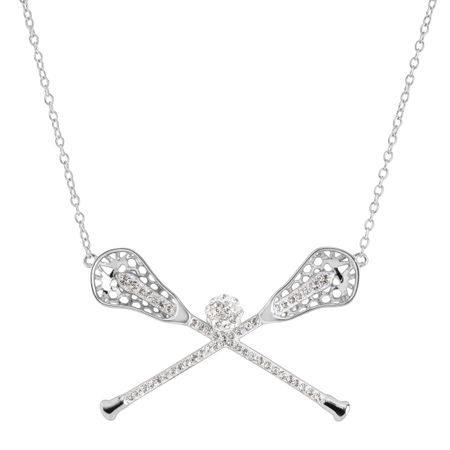 Lacrosse Sticks Necklace with Swarovski Crystals