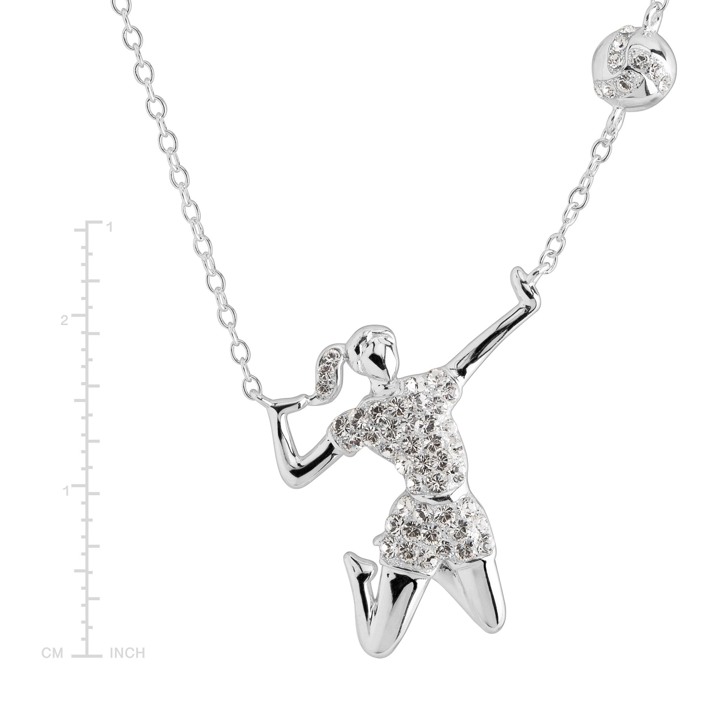 344ff43cf89ed Details about Crystaluxe Volleyball Player Necklace with Swarovski Crystals  in Sterling Silver
