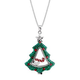 Christmas Tree Shaker Pendant with Swarovski Crystals