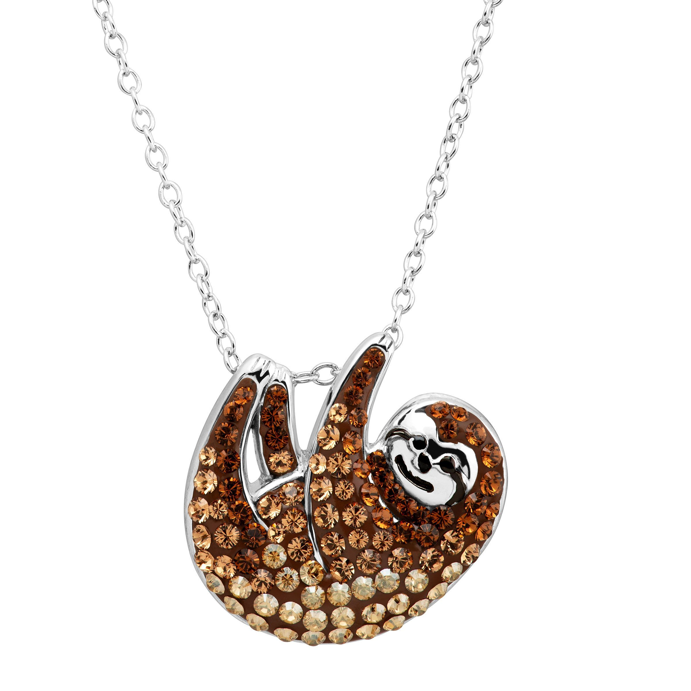 dangling sleek original animal sloth shaped products shiny dotoly on necklace abstract gold in pendant