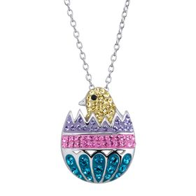 Easter Egg Chick Pendant with Swarovski Crystals