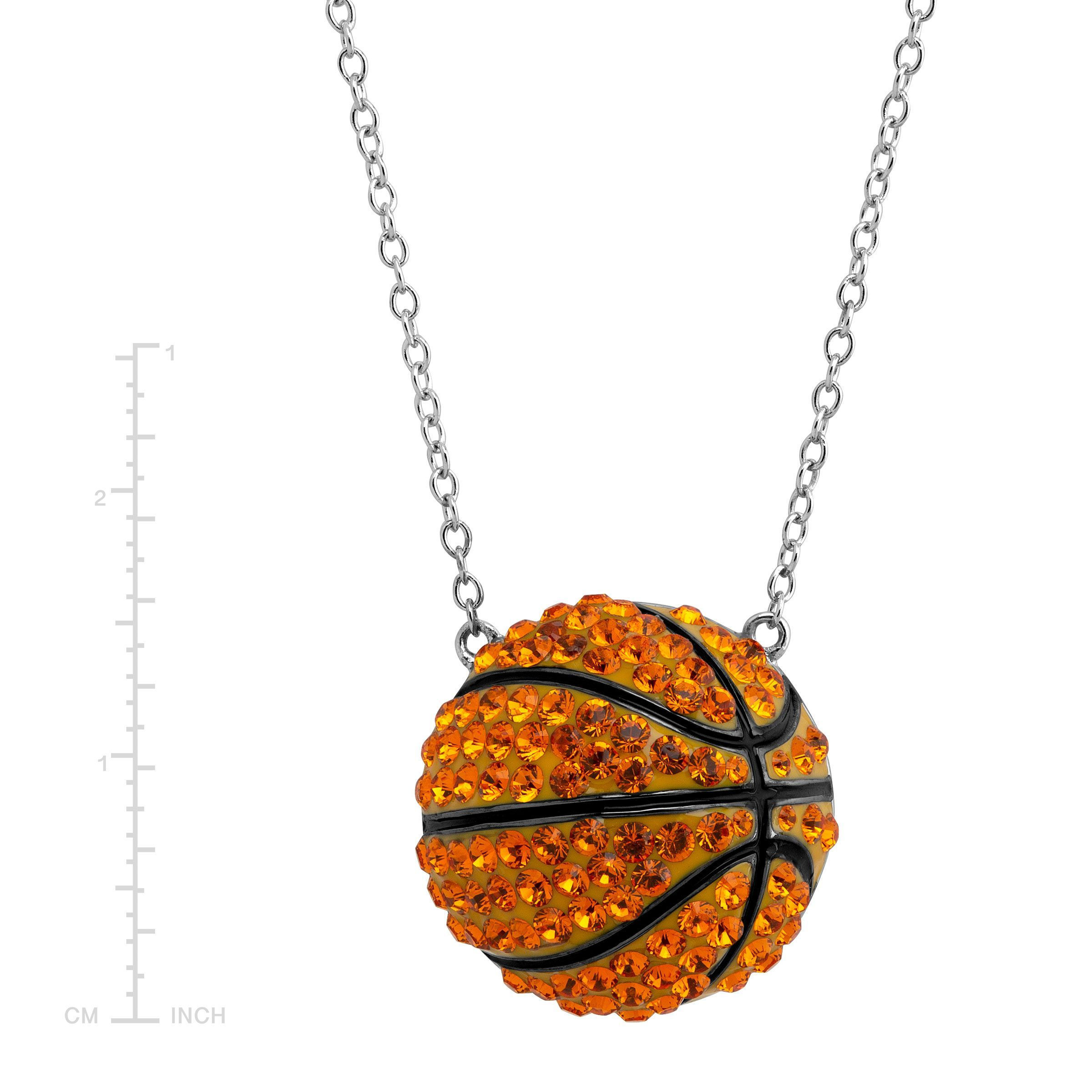 94fbd151ee851 Details about Crystaluxe Basketball Pendant with Swarovski Crystals in  Sterling Silver