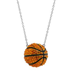 Basketball Pendant with Swarovski Crystals