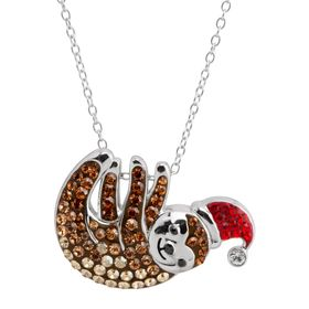 Santa Hat Sloth Pendant with Swarovski Crystals