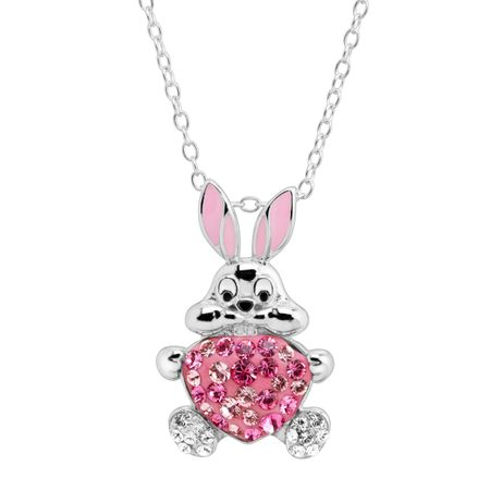 Bunny & Heart Pendant with Swarovski Crystals