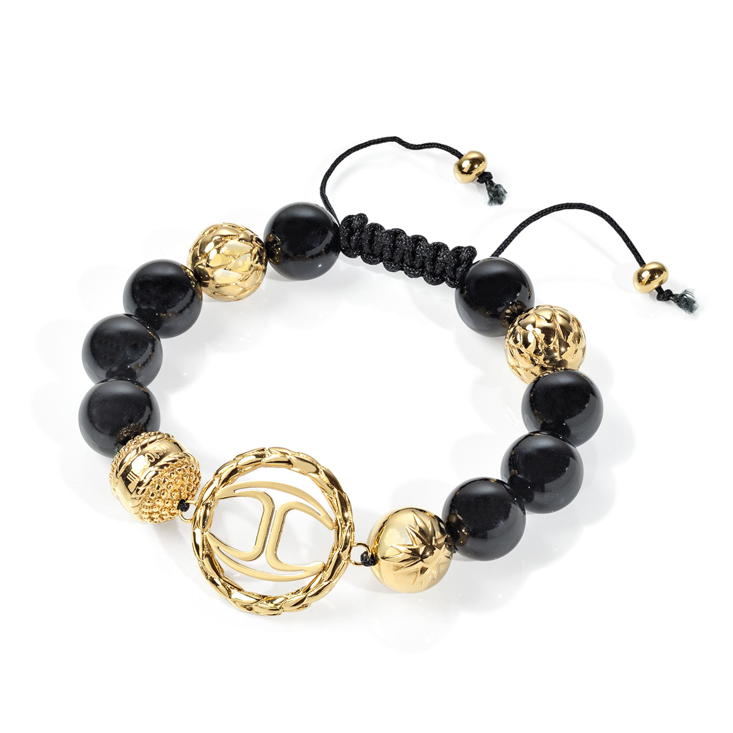 Just Cavalli Signature Shamballa Bracelet In Gold Plated Stainless Steel