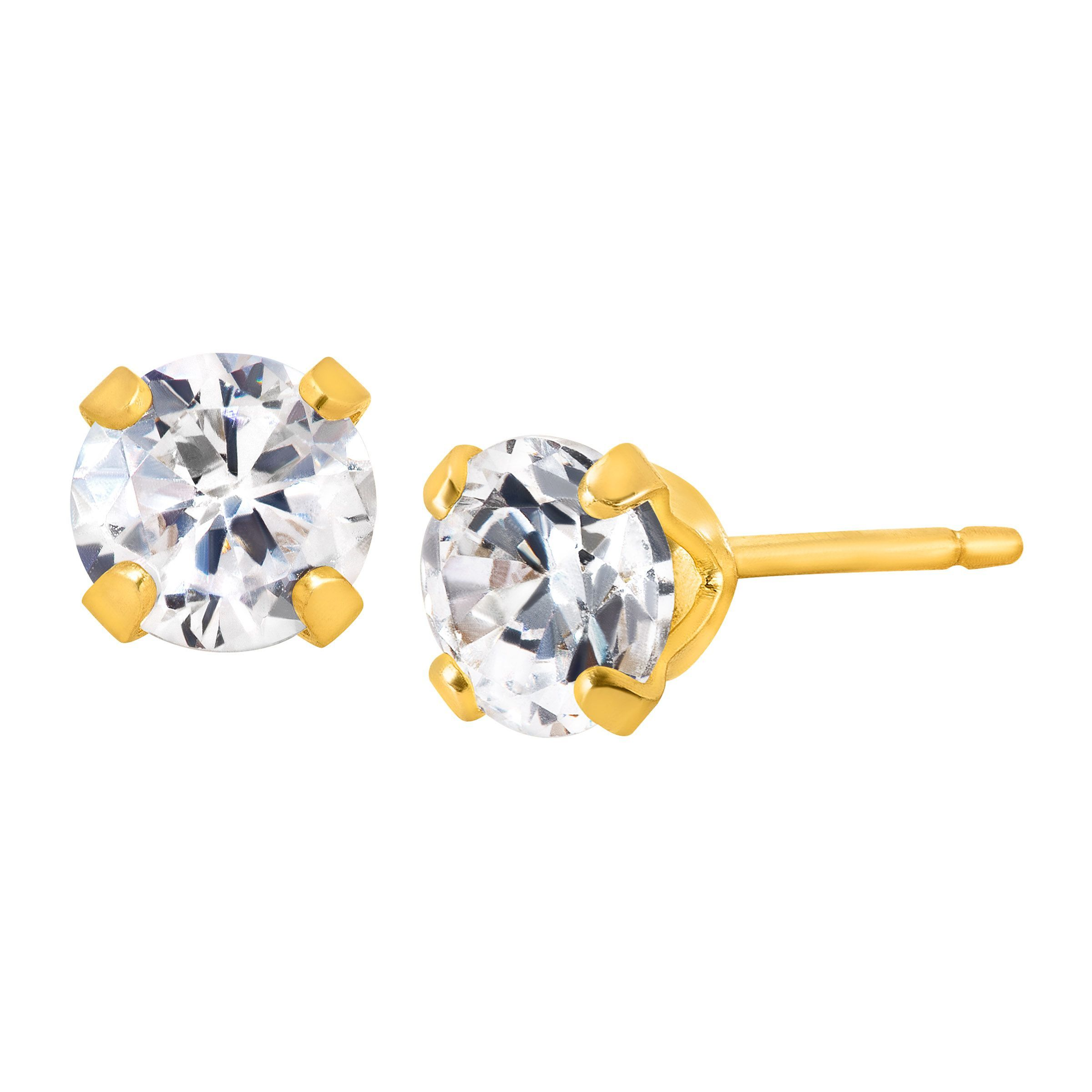 484ef5bff Details about 3/4 ct Stud Earrings with Cubic Zirconia in 14K Gold-Plated  Sterling Silver