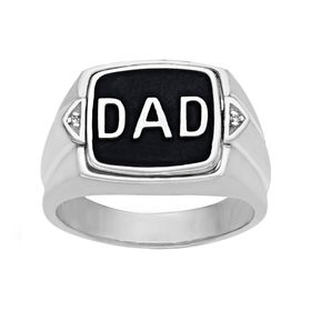 'Dad' Flip Ring with Diamonds