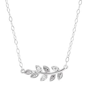 Olive Branch Necklace with Diamonds