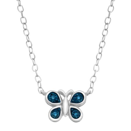Teeny Tiny Butterfly Necklace with Blue Diamonds