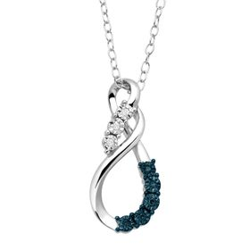 Double Swirl Pendant with Blue & White Diamonds