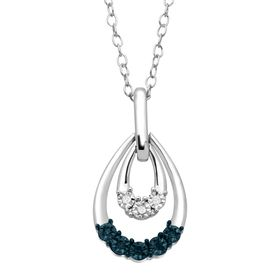 Teardrop Swing Pendant with Blue & White Diamonds