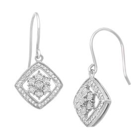 1/10 ct Diamond Flower Drop Earrings