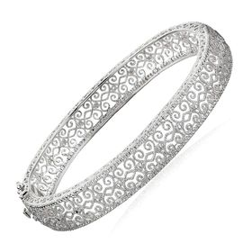 Filigree Bangle Bracelet with Diamond