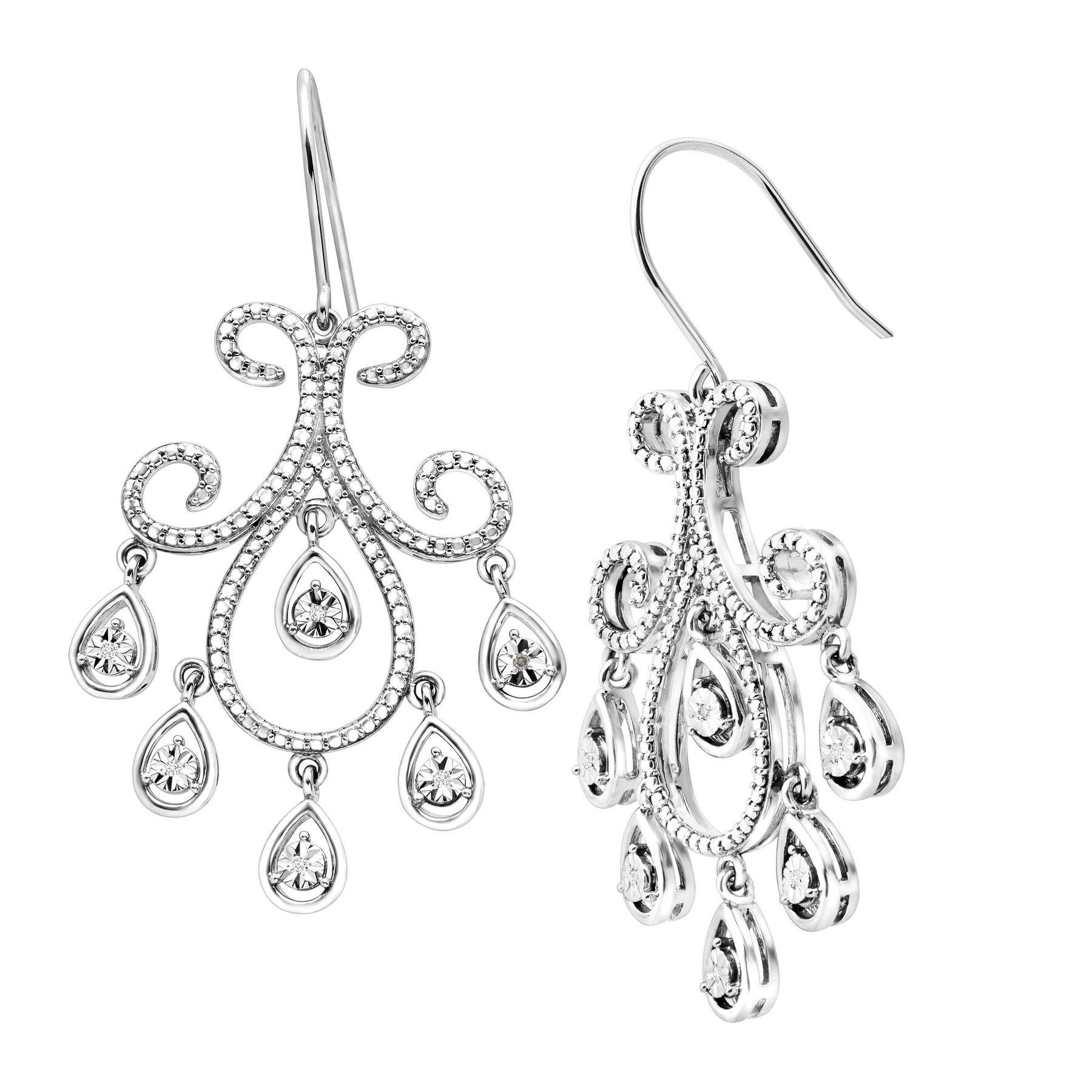 Chandelier Drop Earrings with Diamonds in Sterling Silver ...