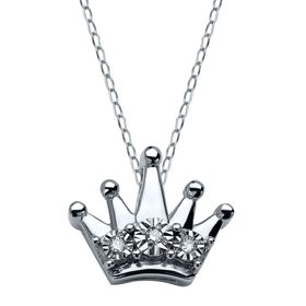 Teeny Tiny Crown Pendant with Diamonds